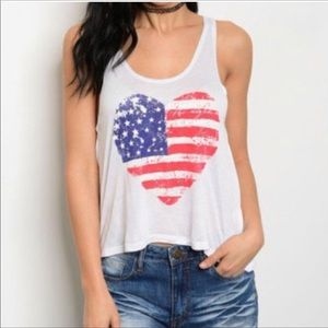 New American Flag Tank Graphic Heart Design